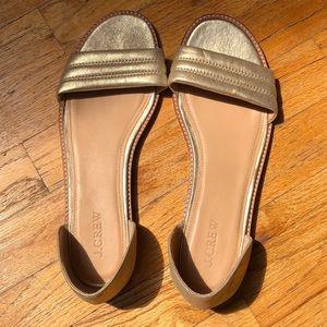 J. Crew Gold Sandals Size 9.5